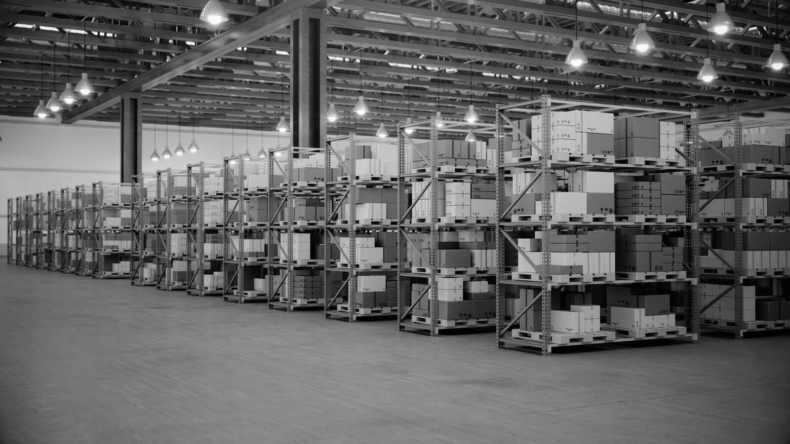 stock important-entrepôt-avec-boîtes-en carton-3262709652